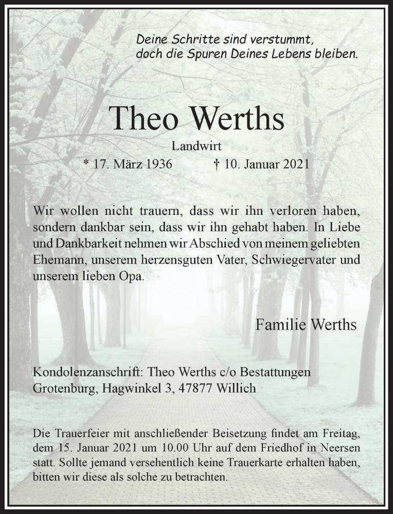 Traueranzeige für Theo Werths vom 13.01.2021 aus Rheinische Post