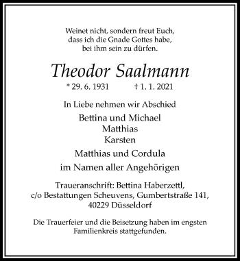 Traueranzeige von Theodor Saalmann von Rheinische Post