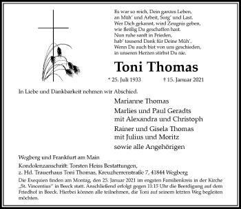 Traueranzeige von Toni Thomas von Rheinische Post