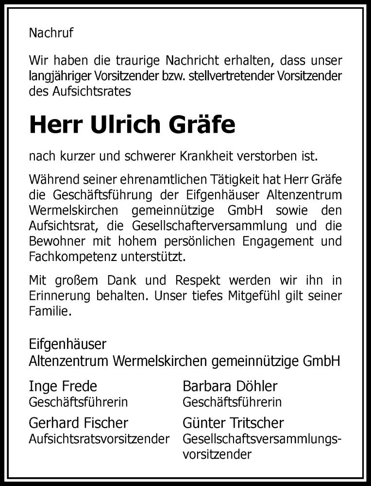 Traueranzeige für Ulrich Gräfe vom 09.01.2021 aus Rheinische Post