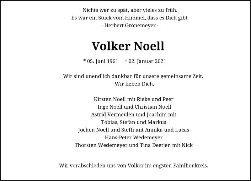 Traueranzeige für Volker Noell vom 23.01.2021 aus Rheinische Post