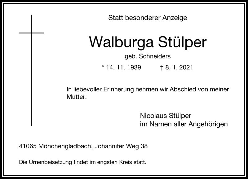 Traueranzeige für Walburga Stülper vom 16.01.2021 aus Rheinische Post