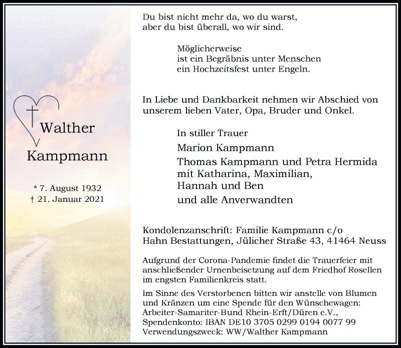Traueranzeige für Walther Kampmann vom 30.01.2021 aus Rheinische Post