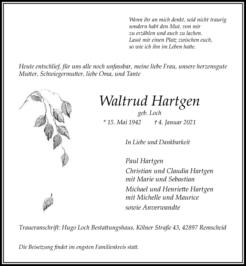 Traueranzeige für Waltrud Hartgen vom 09.01.2021 aus Rheinische Post