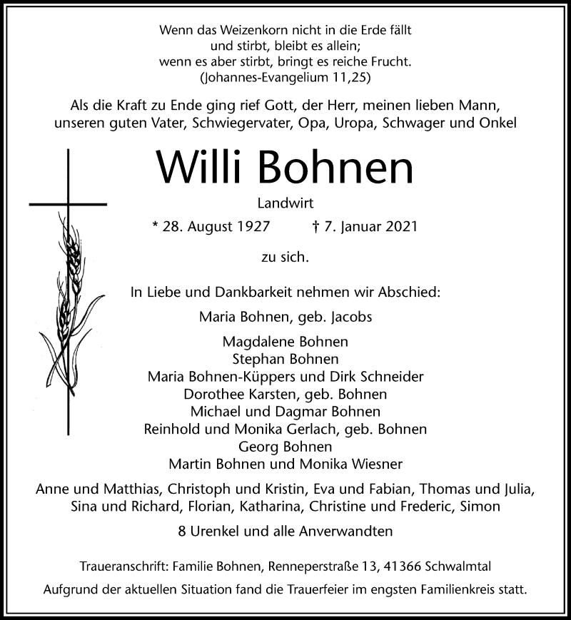 Traueranzeige für Willi Bohnen vom 13.01.2021 aus Rheinische Post