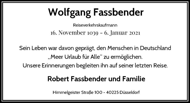 Traueranzeige für Wolfgang Fassbender vom 23.01.2021 aus Rheinische Post