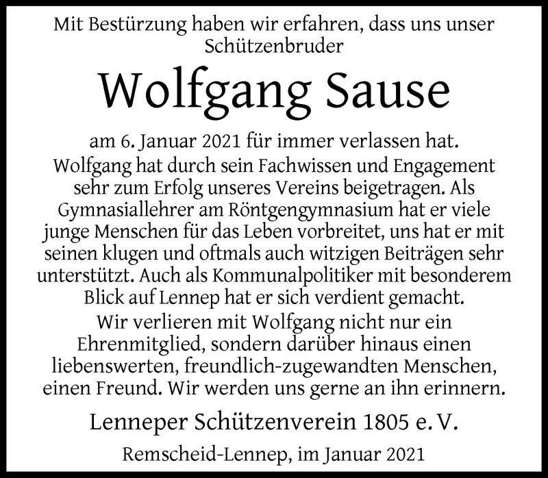 Traueranzeige für Wolfgang Sause vom 16.01.2021 aus Rheinische Post