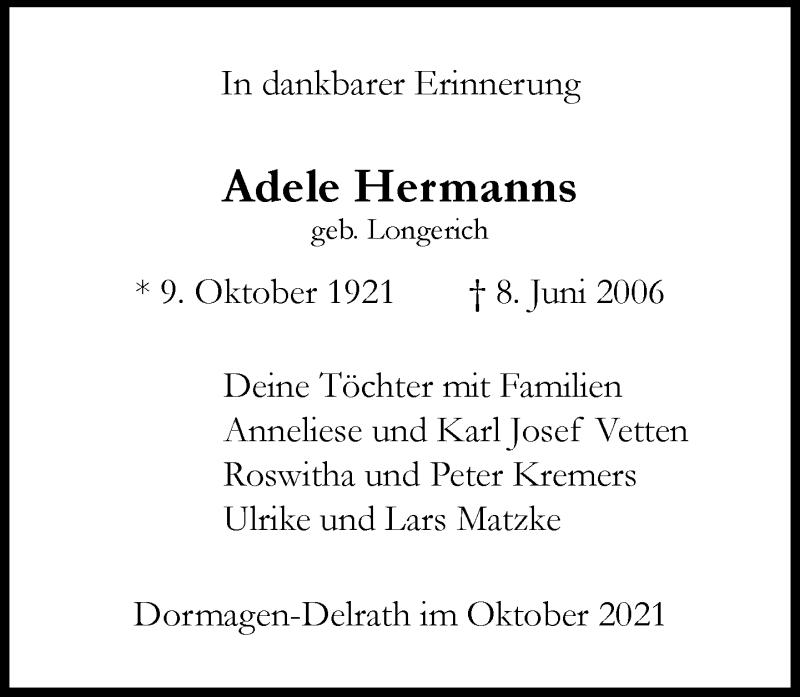 Traueranzeige für Adele Hermanns vom 09.10.2021 aus Rheinische Post