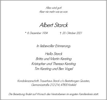 Traueranzeige von Albert Starck von Rheinische Post