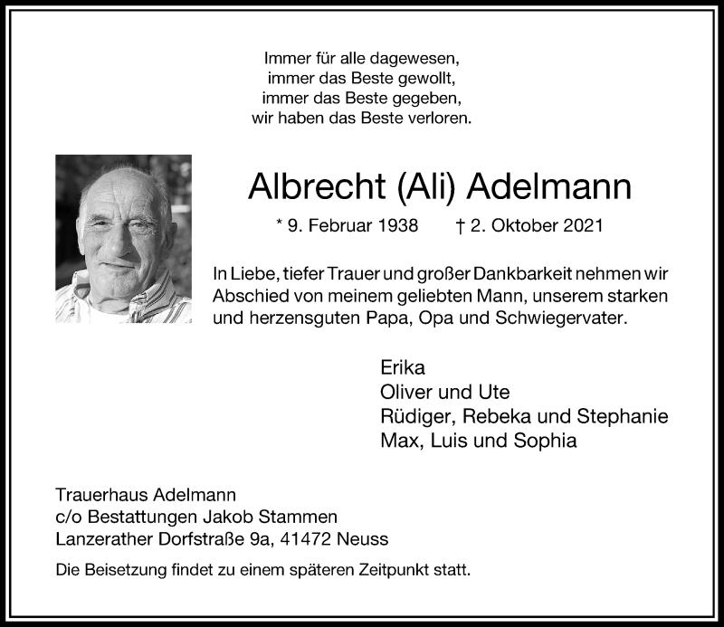 Traueranzeige für Albrecht Adelmann vom 09.10.2021 aus Rheinische Post