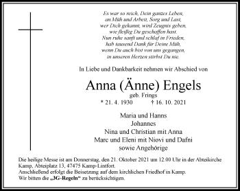 Traueranzeige von Anna Engels von Rheinische Post