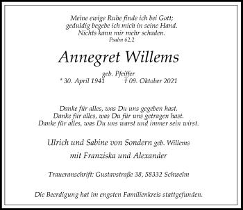 Traueranzeige von Annegret Willems von Rheinische Post