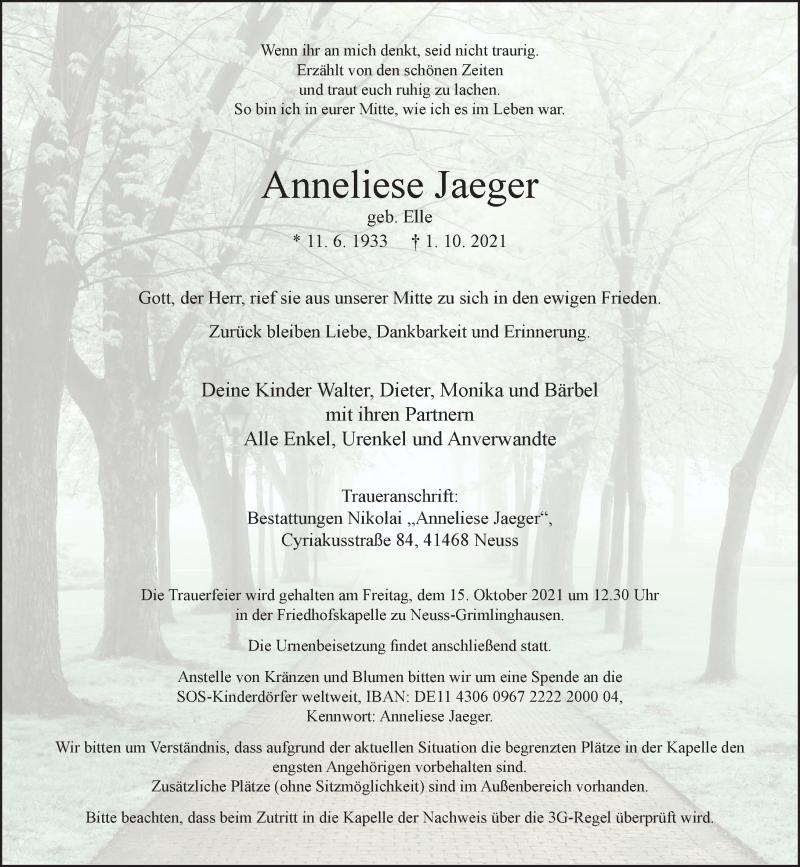 Traueranzeige für Anneliese Jaeger vom 09.10.2021 aus Rheinische Post