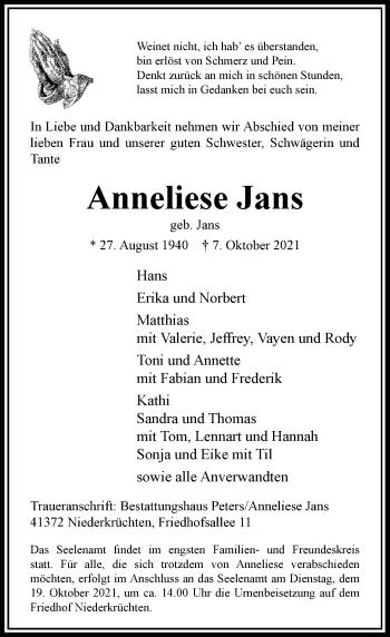 Traueranzeige von Anneliese Jans von Rheinische Post
