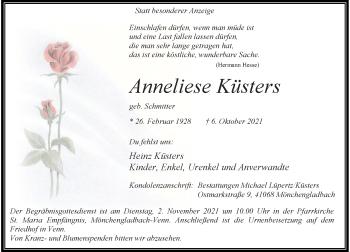 Traueranzeige von Anneliese Küsters von Rheinische Post