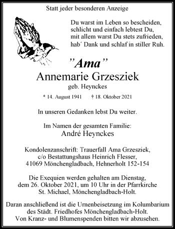 Traueranzeige von Annemarie Grzesziek von Rheinische Post