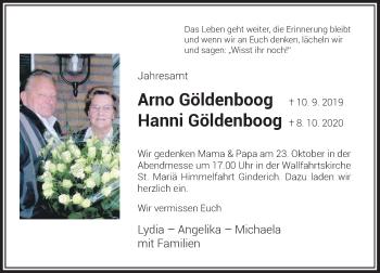 Traueranzeige von Arno und Hanni Göldenboog von Rheinische Post