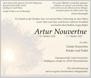 Traueranzeige von Artur Nouvertne von Rheinische Post