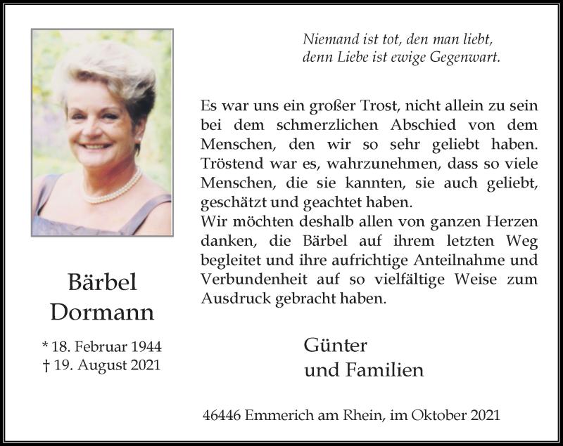 Traueranzeige für Bärbel Dormann vom 09.10.2021 aus Rheinische Post