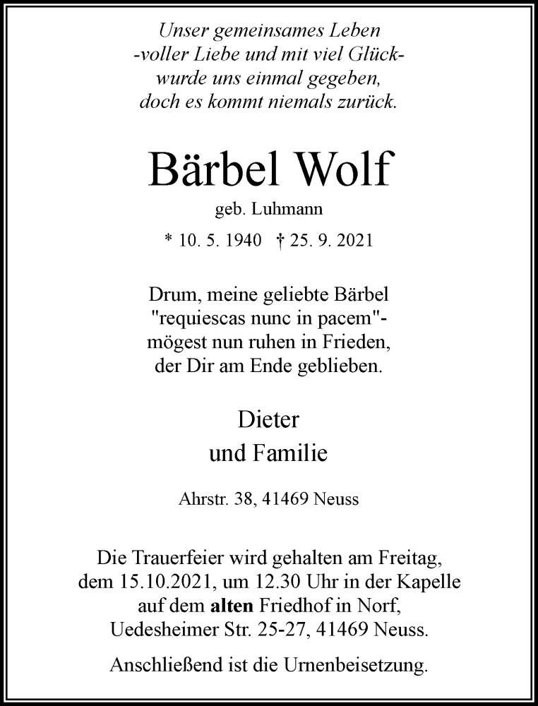 Traueranzeige für Bärbel Wolf vom 09.10.2021 aus Rheinische Post