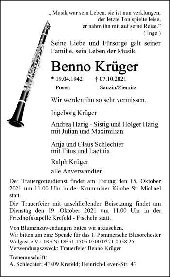 Traueranzeige von Benno Krüger von Rheinische Post