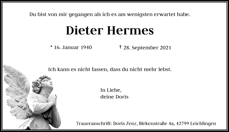 Traueranzeige für Dieter Hermes vom 09.10.2021 aus Rheinische Post
