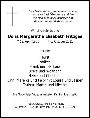 Traueranzeige von Doris Margarethe Elisabeth Fritzges von Rheinische Post