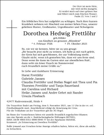 Traueranzeige von Dorothea Hedwig Frettlöhr von Rheinische Post