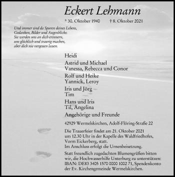 Traueranzeige von Ecken Lehmann von Rheinische Post