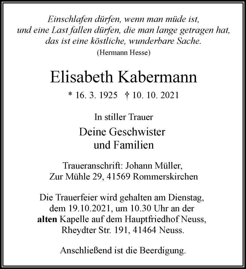 Traueranzeige für Elisabeth Kabermann vom 13.10.2021 aus Rheinische Post