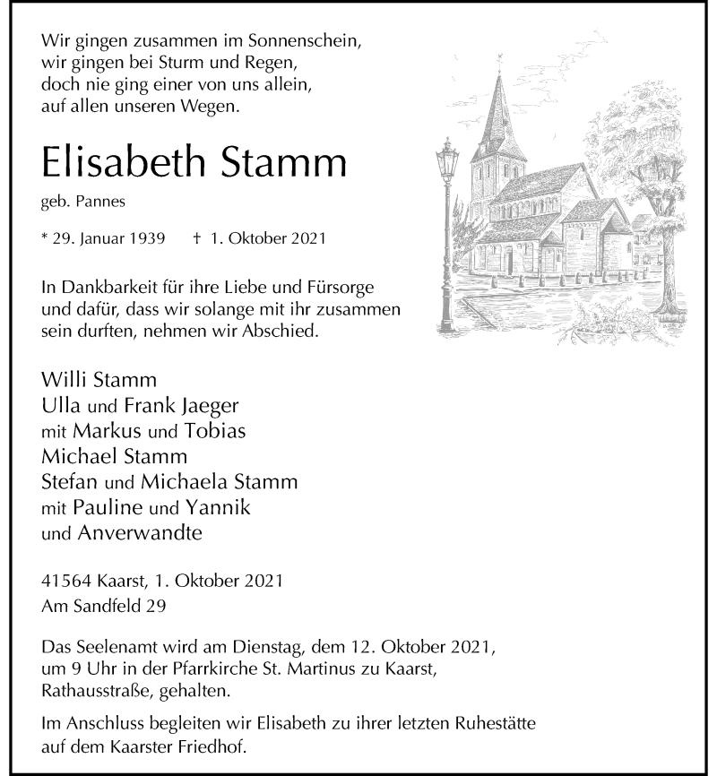 Traueranzeige für Elisabeth Stamm vom 06.10.2021 aus Rheinische Post