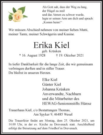 Traueranzeige von Erika Kiel von Rheinische Post