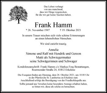 Traueranzeige von Frank Hamm von Rheinische Post