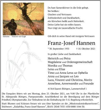 Traueranzeige von Franz-Josef Hannen von Rheinische Post