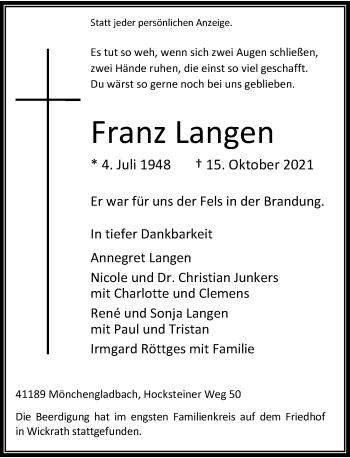 Traueranzeige von Franz Langen von Rheinische Post