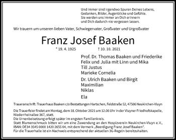 Traueranzeige von Franz Josef Baaken von Rheinische Post