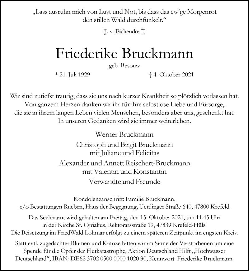 Traueranzeige für Friederike Bruckmann vom 09.10.2021 aus Rheinische Post
