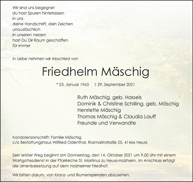 Traueranzeige für Friedhelm Mäschig vom 09.10.2021 aus Rheinische Post