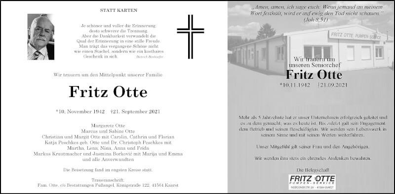 Traueranzeige für Fritz Otte vom 02.10.2021 aus Rheinische Post
