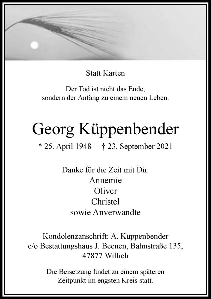 Traueranzeige für Georg Küppenbender vom 09.10.2021 aus Rheinische Post