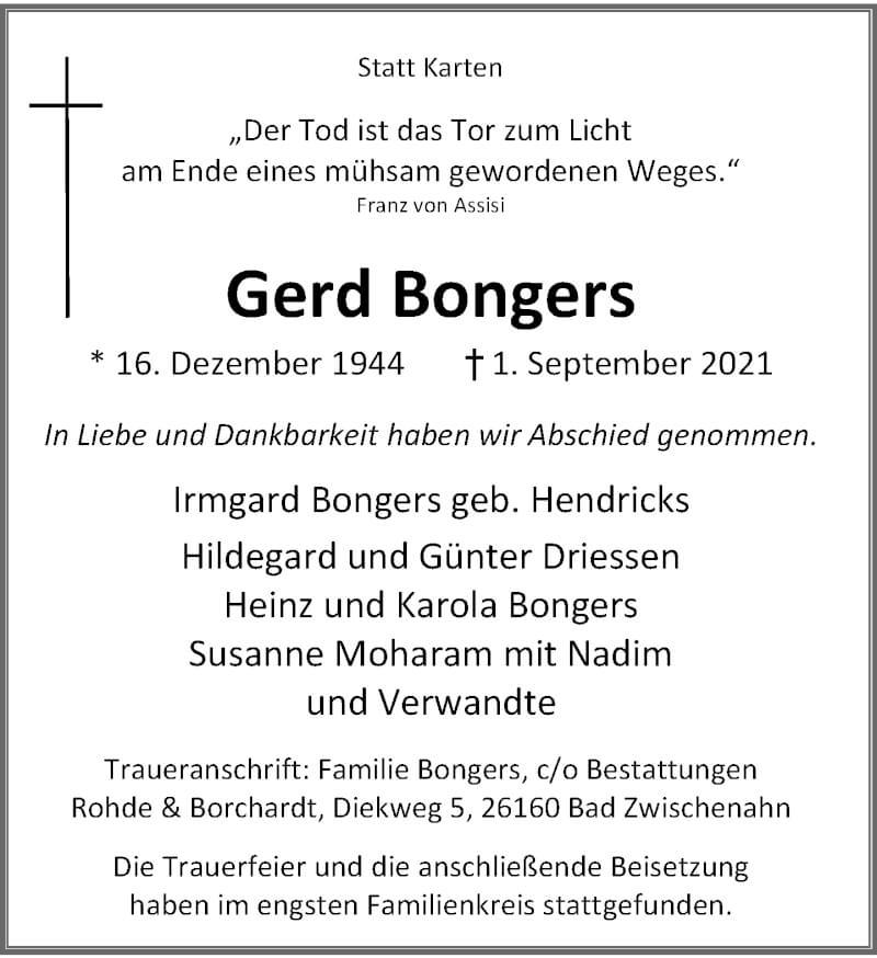 Traueranzeige für Gerd Bongers vom 02.10.2021 aus Rheinische Post