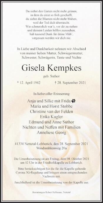 Traueranzeige von Gisela Kempkes von Rheinische Post