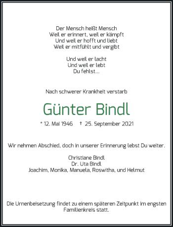 Traueranzeige von Günter Bindl von Rheinische Post