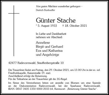 Traueranzeige von Günter Stache von Rheinische Post