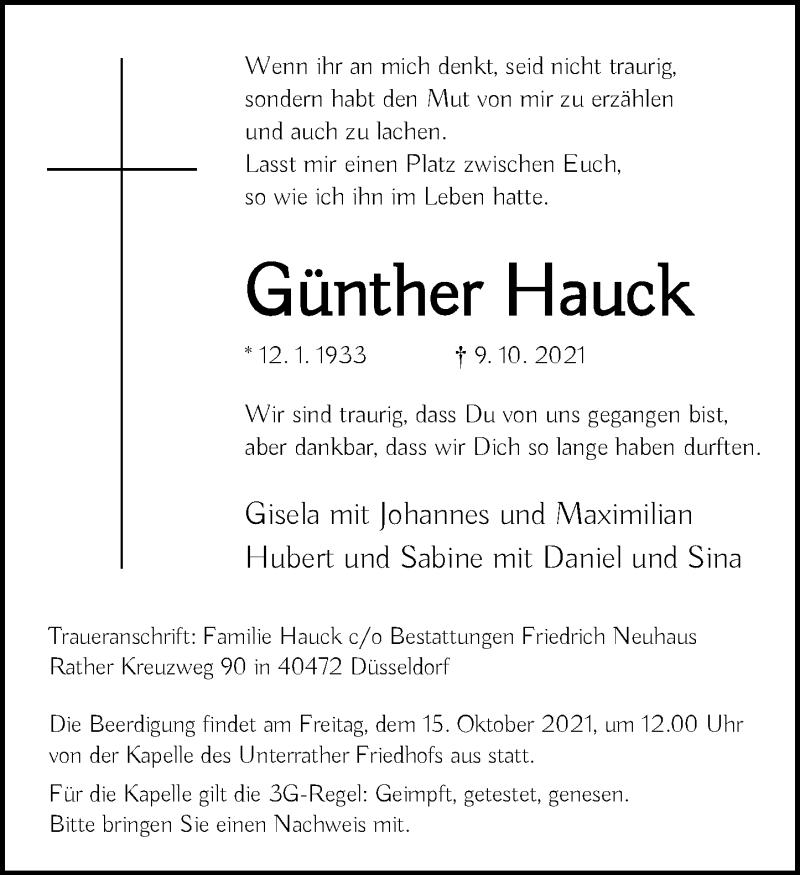 Traueranzeige für Günther Hauck vom 13.10.2021 aus Rheinische Post
