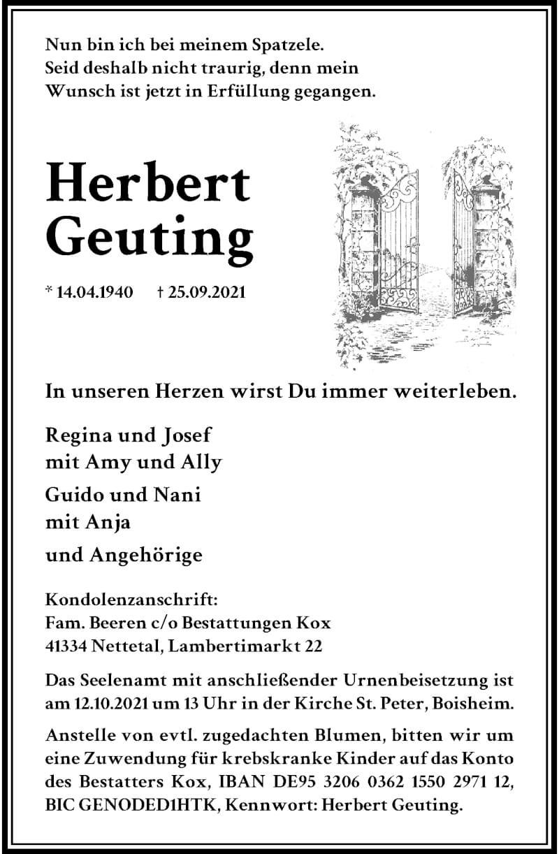 Traueranzeige für Guido Geuting vom 02.10.2021 aus Rheinische Post