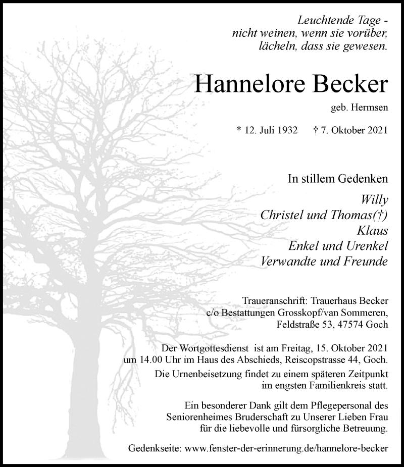 Traueranzeige für Hannelore Becker vom 13.10.2021 aus Rheinische Post