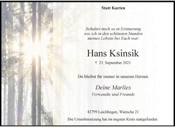 Traueranzeige von Hans Ksinsik von Rheinische Post