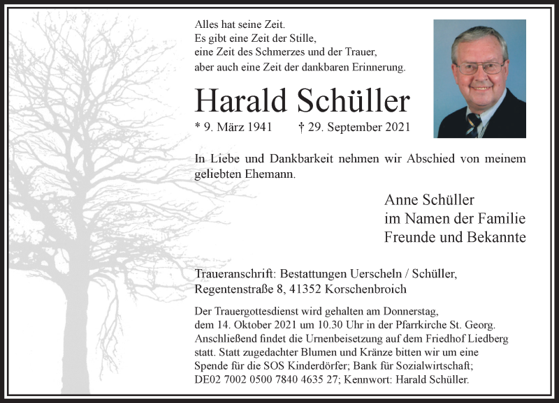 Traueranzeige für Harald Schüller vom 09.10.2021 aus Rheinische Post