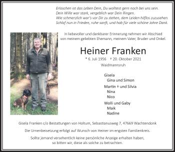 Traueranzeige von Heiner Franken von Rheinische Post